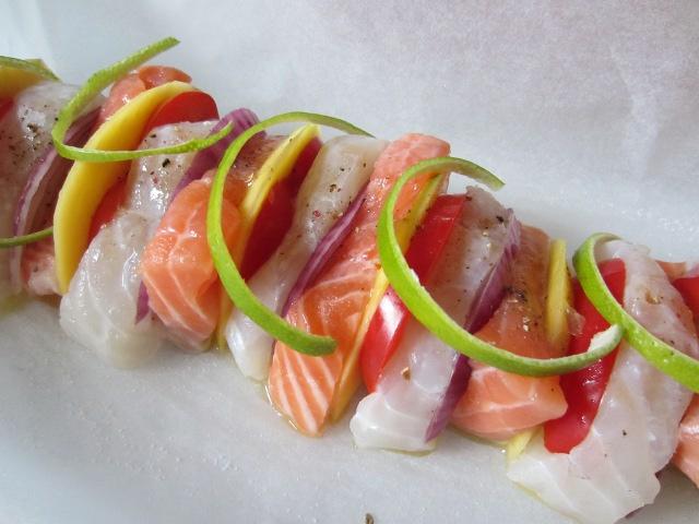 Papillote de saumon et cabillaud